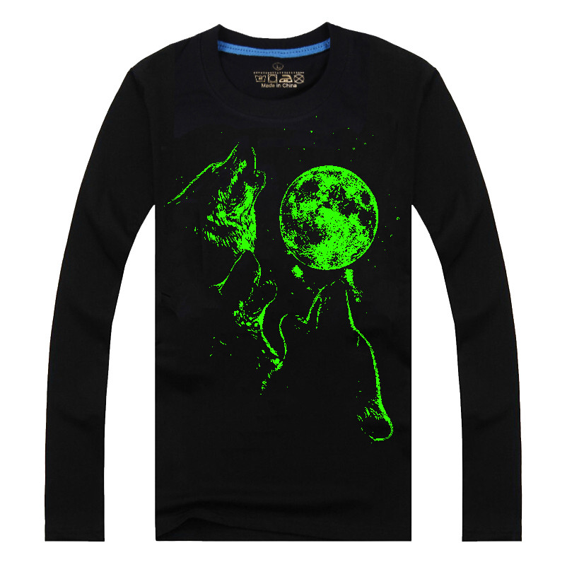 Men Cotton Blended 3D Printed Noctilucent Wolf Long Sleeve T-shirt