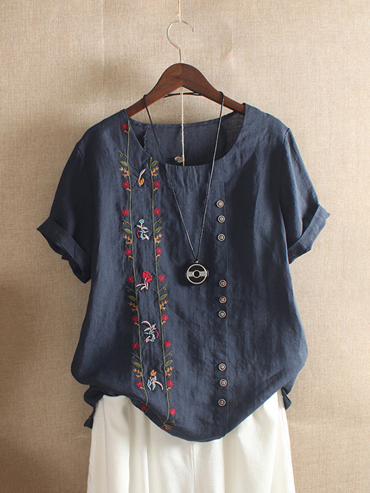Women Bohemian Embroidery Floral Short Sleeve T-Shirts