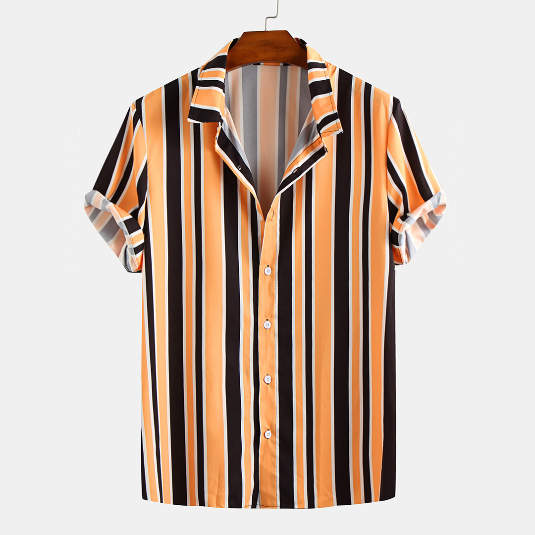 Men Stripe Turn Down Collar Short Sleeve Shirts
