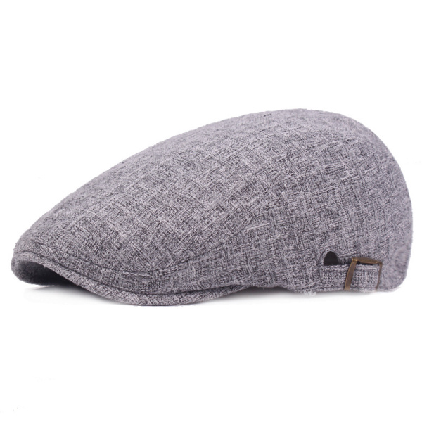 Mens Linen Solid Beret Caps Casual Newsboy Forward Hat