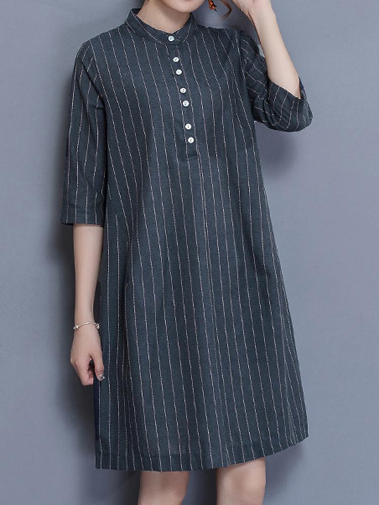 Elegant Women Striped Buttons Stand Collar Dress