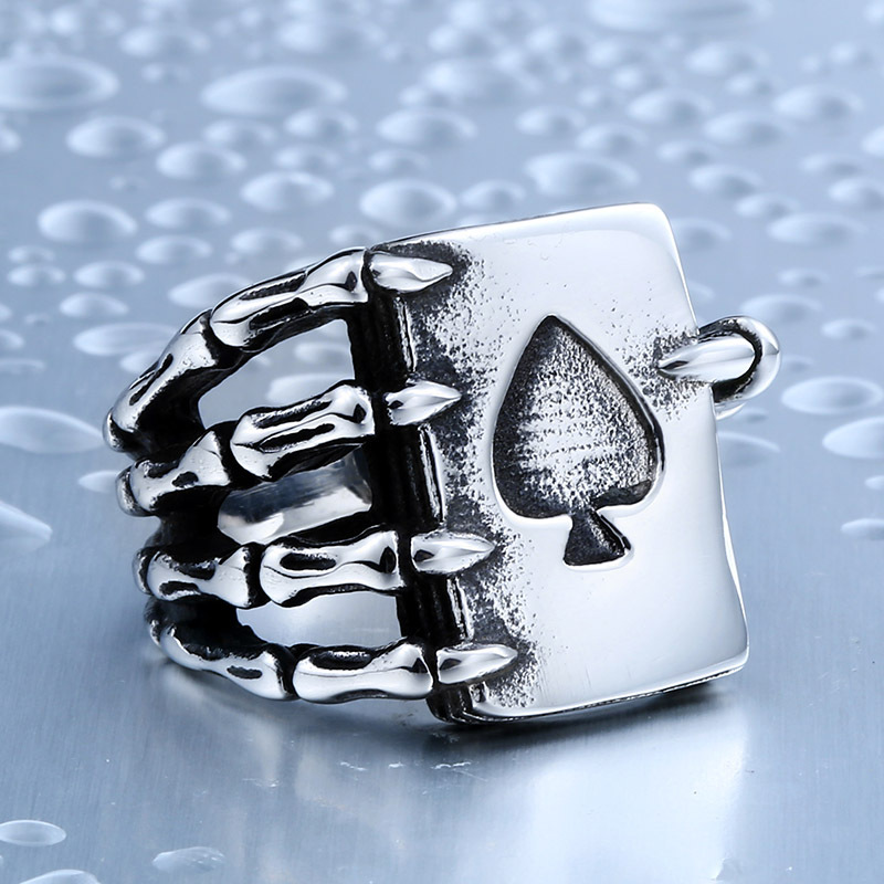 Gothic Spades Claw Stainless Steel Men's Ring Punk Rock