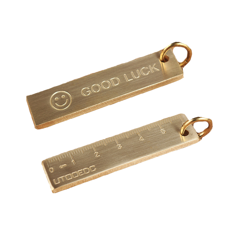 60mm EDC Copper Keychain Good Luck Ruler With Key Ring