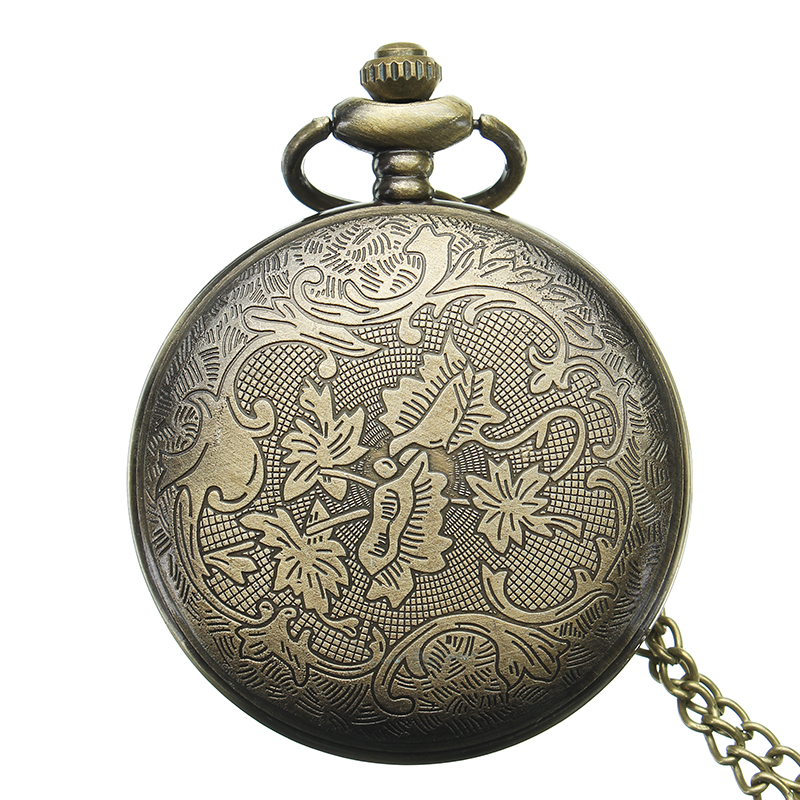 DEFFRUN Retro Steampunk Style Pocket Watch Roman Numera
