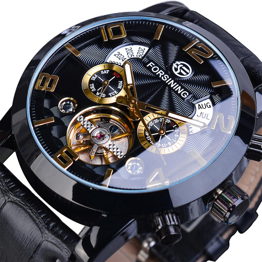 Forsining GMT373 Fashion Men Automatic Watch Week Year Genuine Leather Strap Display Mechanical Watch