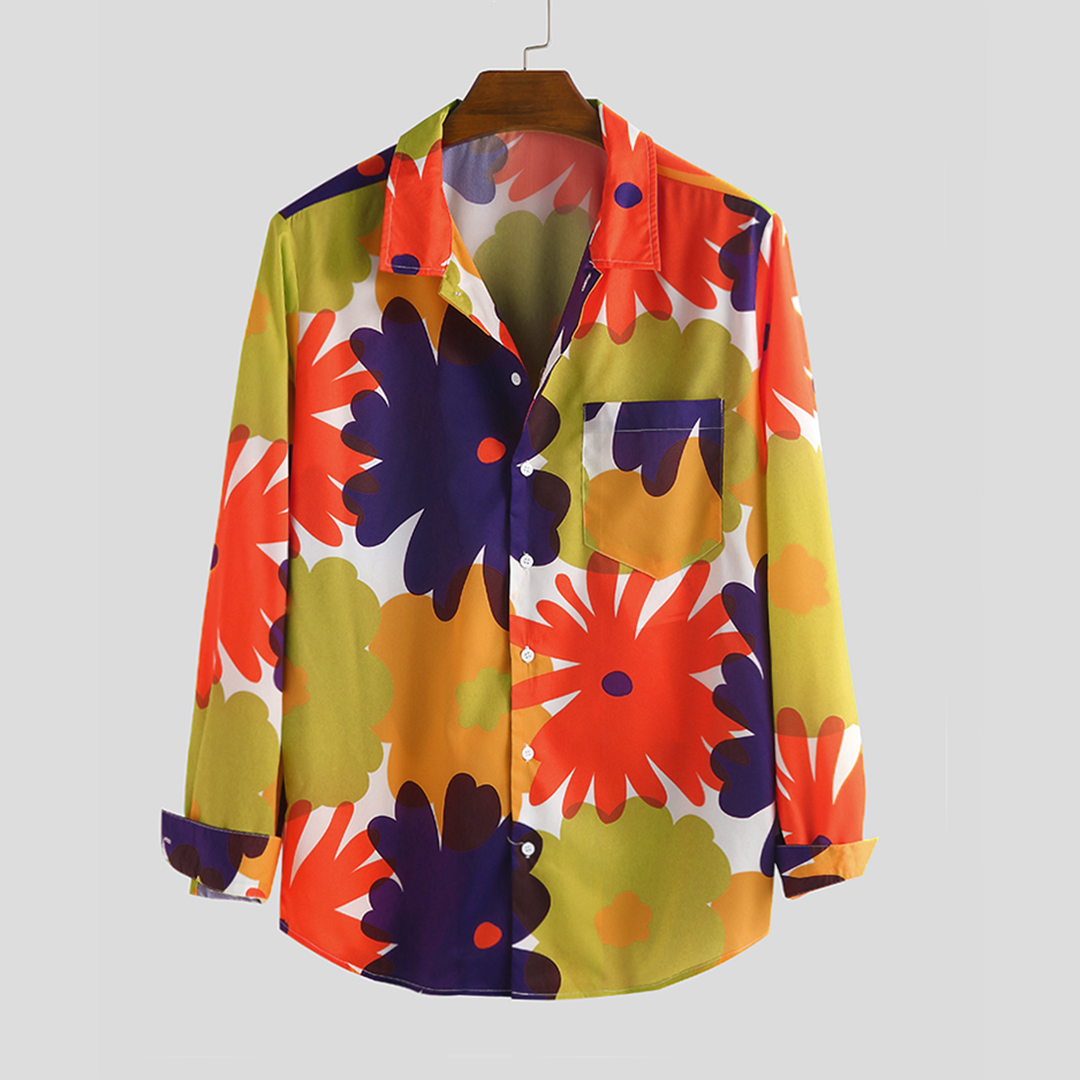 Mens Autumn Big Flower Printed Long Sleeve Casual Shirt