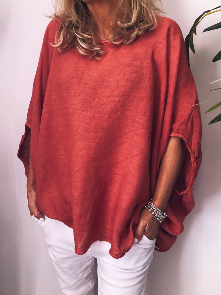 Plus size Solid Color Breathable Batwing Sleeve Loose Blouse