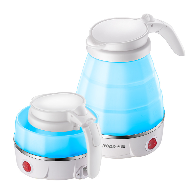 Chigo ZD-D03 Portable Folding Double Voltage Travel Electric Kettle Food Grade Silicone and 304 Stainless