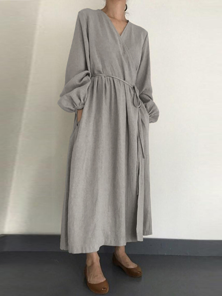 Women Casual Loose Pure Color Side Pockets Long Sleeve Robe Dress