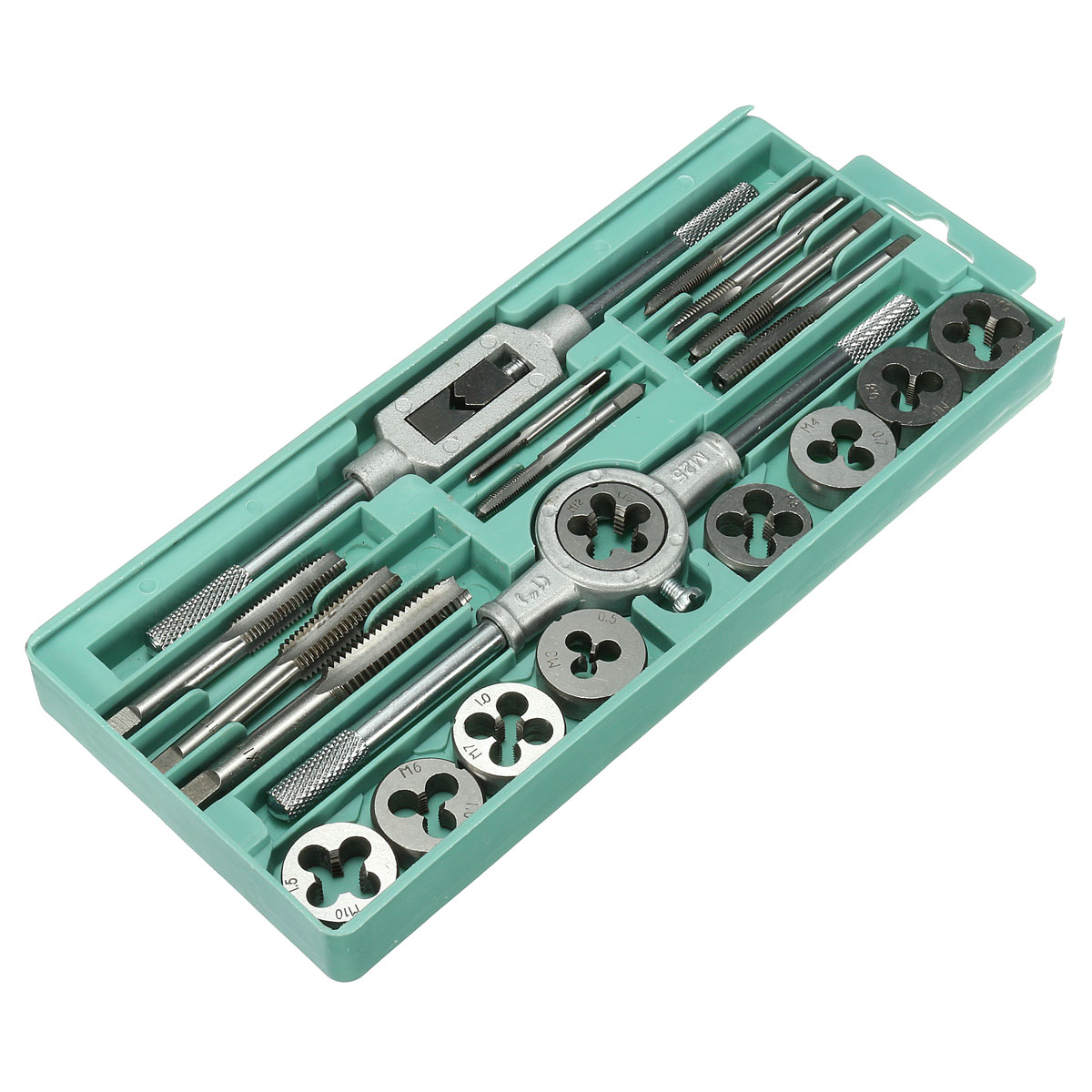 20pcs Metric Screw Tap Wrench and Die Pro Set M3-M12 Nut Bolt Alloy Metal Tool