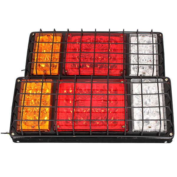Pair 32LED Stop Rear Tail Indicator Lamps Lights Trailer Truck