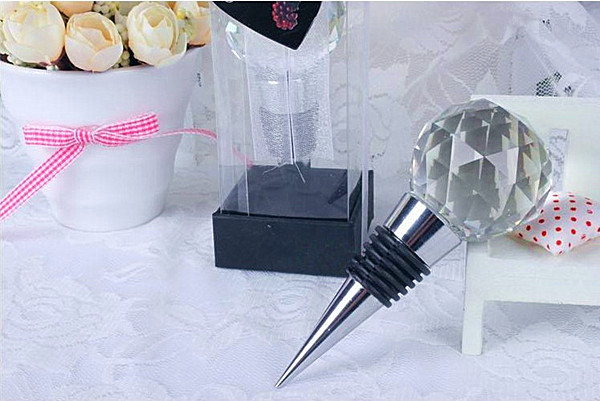 Wedding Favors Cork Round Crystal Ball Metal Creative Wine Stopper