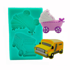 Baby Carriage Trolley Car School Bus Vehicle Silicone Wedding Cake Mold Decorating Mould