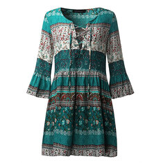 Bohemian V-neck Bell Sleeve Floral Mini Dress
