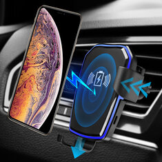 Universal Qi Wireless 10W Fast Charge Gravity Linkage Auto Lock Car Air Vent Holder for Mobile Phone