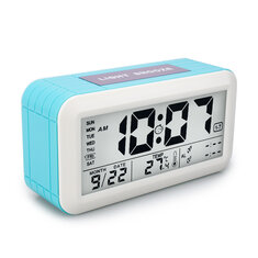 Digital LCD Display Multi-functional Electronic Alarm Clock With Time Date Week Temperature