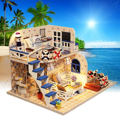 DIY LED Light Coastal Villa Doll House Miniatures Furniture Gift Kit