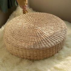 40cm Natural Straw Meditation Yoga Seat Round Tatami Cushion Chair