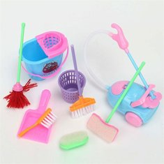 Mini 9Pcs a Set Doll Cleaning Tools Furniture Home Princess Baby Plush Cleaner Household Model Toys