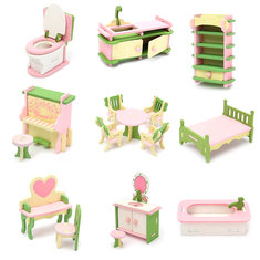 Wooden Furniture Set Doll House Miniature Room Accessories Kids Pretend Play Toy Gift Decor