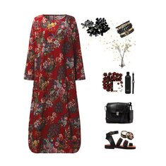 Vintage Long Sleeve Loose Baggy Kaftan Floral Maxi Dress