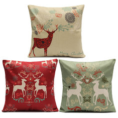 Vintage Christmas Series Deer Throw Pillow Case Linen Cotton Square Sofa Cushion Cover