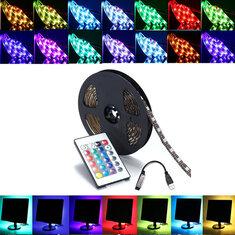 0.5 / 1/2/3/4 / 5M SMD5050 RGB एलईडी पट्टी लैंप बार टीवी Backlilghting किट + यूएसबी रिमोट कंट्रोल DC5V