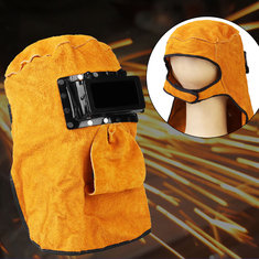 Leather Hood Welding Helmet Mask Anti-glare Neck Protect Lens Filter Welding Cap