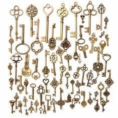 70Pcs Vintage Bronze Skeleton Heart Key Pendants DIY Accessaries