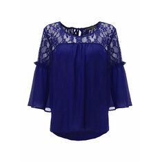 Lace Sheer Backless Hollow Out Patchwork 3/4 Sleeve Blouse