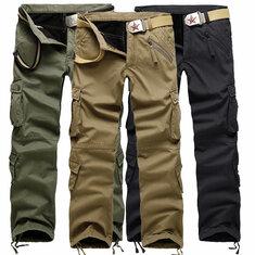 Mens Thick Polar Fleece Lined Multi Pocket Cotton Cargo Pants