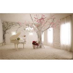 5x3FT 1.5x1m Indoor Piano Tree Scenery Photography Backdrop Photo For Studio