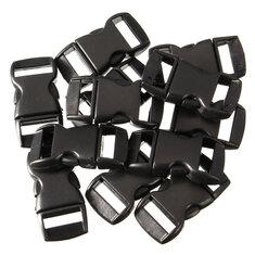12Pcs Black Plastic Curved Release Clasp Buckles Umbrella Rope Bracelet Buckles