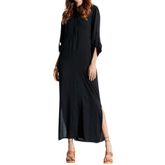 Casual Pure Color Long Sleeve Women Maxi Dress