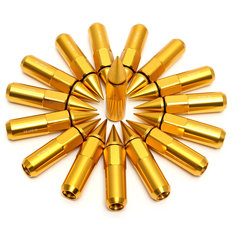 16PCs 30 60mm Gold Spiked Wheels Extended Lug Nuts M12 X1.25 X1.5