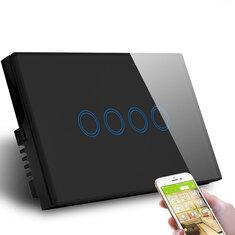 MAKEGOOD 1000 Вт AC110-240V US 4 Gang 1 Way Умный Дом Сенсорный Выключатель Wi-Fi APP Control Лампа Выключатель Хрустальное Стекло Выключатель Совместим с Alexa Google Ass