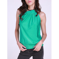 Halter Neck Draped Ruched Women Bow Tie Sleeveless Blouse