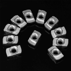 Drillpro 100pcs M5 Hammer Nut Nickel Plated Carbon Steel Aluminum Connector T Fastener Sliding Nut
