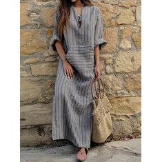 Women Striped V Neck Long Sleeve Casual Loose Maxi Dress