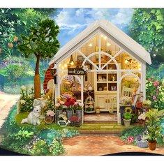 Cuteroom DIY Dollhouse Miniature Furniture Kit LED Kids Birthday Christmas Gift Flower House
