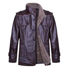 Men's Quality PU Leather Jacket Slim Fit  Plush Thick Warm Jacket Coat