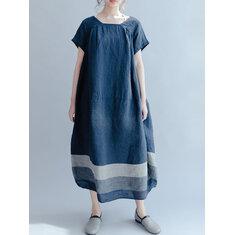 M-5XL Striped Baggy Maxi Dress