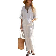 Women Pure Color Long Sleeve Cotton Linen Loose Dress