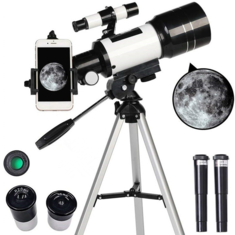 Astronomical Telescope 70mm Aperture 300mm Focal Length Tripod Outdoor Camping Telescope for Kids & Beginners