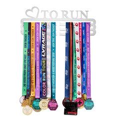 'LOVE TO RUN' Medal Hanger Display Holder Brushed Stainless Steel Wire 36 Medals Hanger 32cm Triple Bar