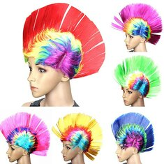 Halloween Cosplay Wig Colorful Carnival Mohawk Wig Fancy Party Mohican Rocker Wigs