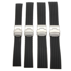 18/20/22/24mm Black Silicone Sports Watch Band