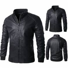 Motorcycle PU Leather Jacket Mens Black Lining Stand Collar Zipper Warm Outwear