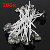 100pcs 8 centimetri stoppini candela di cera cotone con sostenitori in metallo