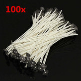 100pcs 20cm Wax Candle Cotton Wicks Met Metal Sustainers